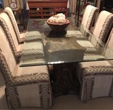 Glass Top Dining Room Table with 6 upholstered chairs in Conroe, Texas