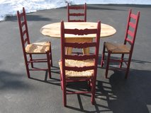 Table and 4 Ladder Back Chairs in Joliet, Illinois