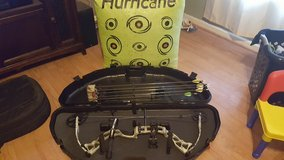 Diamond Outlaw compound bow and target in Fort Campbell, Kentucky