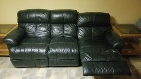 Black leather reclining couch sofa in Wheaton, Illinois