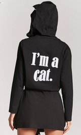 "price is firm *forever 21 women's size S ""I'm a cat"" black bath robe in Sugar Land, Texas"