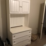 Distressed, White Chest of Drawers with top cabinets in Oceanside, California
