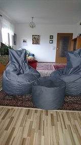 Recliner Gaming Bean Bag SET (two high back and an ottoman) SLATE GREY - Indoor & Outdoor Beanba... in Ramstein, Germany