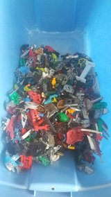 Tub of Bionicle Lego pieces in Beaufort, South Carolina