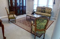 MOVING! 4 pc FRENCH PROVINCIAL LOUIS XVI LIVING ROOM/ENTRY/STUDY SET; 6-legged Couch, 2 Chairs, ... in Sugar Land, Texas