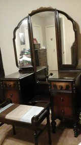 Antique vanity table with bench and matching highboy chest in San Antonio, Texas
