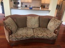 Tapestry and Leather Sofa in Wilmington, North Carolina