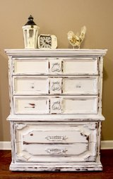 Reduced! Shabby Chic Tall Dresser Chest in Camp Lejeune, North Carolina
