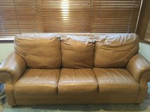Genuine leather couch w/pull-out in Wheaton, Illinois