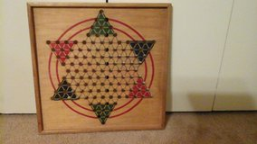Wooden Chinese checkers board from 1960s in Lackland AFB, Texas