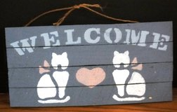 Cat Welcome Blue Decorative Handmade Rustic WoodenSign 12 x 6 with Heart in Oswego, Illinois