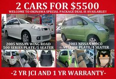 "2 CARS FOR $5500 ""WELCOME TO OKINAWA"" SPECIAL PACKAGE DEAL!! NEW JCI AND 1 YR WARRANTY!! in Okinawa, Japan"
