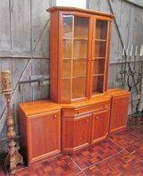 Cherry Wood Fine China Cabinet with Lighting in Ramstein, Germany