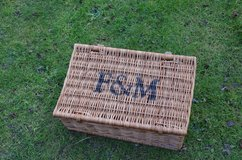 Fortnum & Mason wicker hamper basket with leather straps in Lakenheath, UK