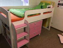 Children's Bed - Girl's Elevated Bed with shelf and dresser in Stuttgart, GE
