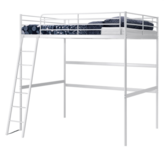 IKEA White Loft Bed with Ladder + Extras in Wiesbaden, GE