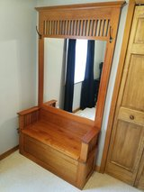 Solid Oak Amish furniture Hall tree storage bench with mirror in Yorkville, Illinois