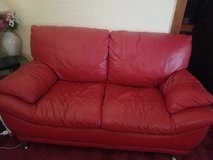 Red Italian Leather Couch and Love Seat. Excellent  Condition. in Yorkville, Illinois