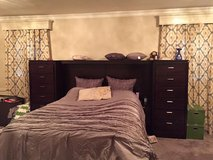 Queen Bedroom Set - bedframe, headboard, side dressers, 7 dr dresser in Fort Meade, Maryland