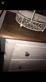 gray dresser refinished. newly varnished top in Chicago, Illinois