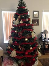6ft Christmas Tree w/ Red and Gold Ornaments in Fort Drum, New York