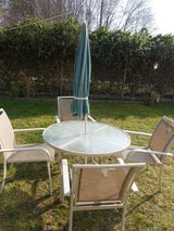 7 pcs. PATIO SET METAL AND GLASS in Ramstein, Germany