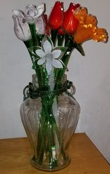 Glass flowers and vase in Elgin, Illinois