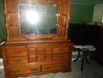 5pc Bedroom Set ( includes: Large 8 drawer dresser with mirror and shelves, 5 drawer chest, 2 ni... in Houston, Texas