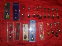 21 miniature spoons from different places in Tomball, Texas