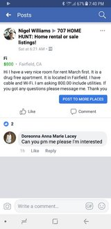 available 3-1-18 in Fairfield, California