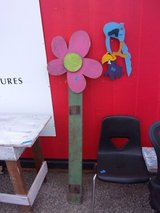 Wooden Flower Yard Art in Fort Riley, Kansas