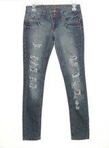 Dollhouse Destroyed STUDDED Skinny Denim Jeans Womens 3 Juniors Distressed in Morris, Illinois