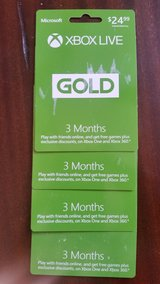 Xbox live Gold Cards 3 months in Plainfield, Illinois