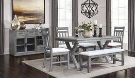 "BRAND NEW! UPSCALE DESIGNER ""DISTRESSED"" SOLID WOOD DINING SET WITH BENCH! in Camp Pendleton, California"