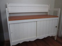 Wooden storage bench in Camp Lejeune, North Carolina