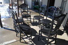 chairs. set of 6 . 2 captain. finished in Black   perfect shape in Morris, Illinois