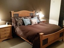 Queen Size Bedroom Set (bed, armoir, long dresser w/mirror and 2 night stands) in Naperville, Illinois