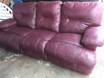 Leather reclining couch in Fort Riley, Kansas