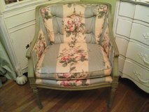 vintage green upholstered chair with roses in Naperville, Illinois