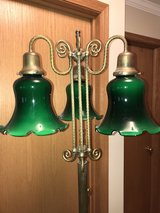 Antique Brass Floor Lamp with Green Glass Globes in Ottawa, Illinois