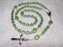 Rosary Spring Green Czech Crystal Beads All Glass Italian Silver Medal and Crucifix Custom in Houston, Texas