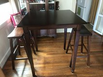 Solid wood pub table with benches in Camp Lejeune, North Carolina