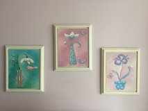 Three framed flowers for girls room in Shorewood, Illinois