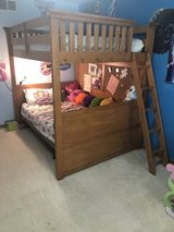 Oak Bunk Bed- full over full with ladder and cork board in Joliet, Illinois