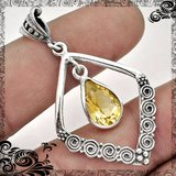 New - Citrine 925 Sterling Silver Pendant (Includes a chain) in Alamogordo, New Mexico