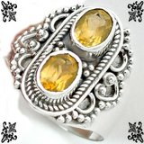 New - Natural Brazilian Yellow Citrine 925 Sterling Silver Ring - Size 7.5 in Alamogordo, New Mexico
