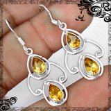 New - Natural Yellow Citrine 925 Sterling Silver Earrings in Alamogordo, New Mexico