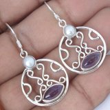New - Natural Purple Amethyst and Pearl 925 Sterling Silver Earrings in Alamogordo, New Mexico