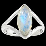 New - Rainbow Moonstone 925 Sterling Silver Ring - Size 8 in Alamogordo, New Mexico