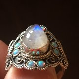 New - Moonstone and Light Blue Fire Opal 925 Sterling Silver Ring - Size 8.5 in Alamogordo, New Mexico
